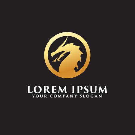 dragon logo emblem design concept template