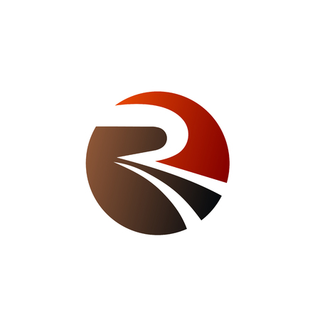 letter R circle logo design concept template 向量圖像