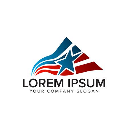 アメリカ国旗の星ロゴ デザイン コンセプト テンプレート