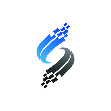 letter s logo, technology logo design concept template Ilustracja