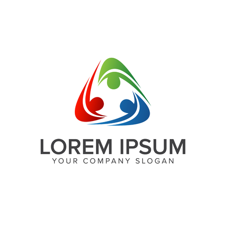 logo del negocio y de la consulta de las personas. concepto de diseño de logotipo de grupo de comunicación de trabajo en equipo