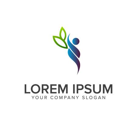 people leaf logo design concept template