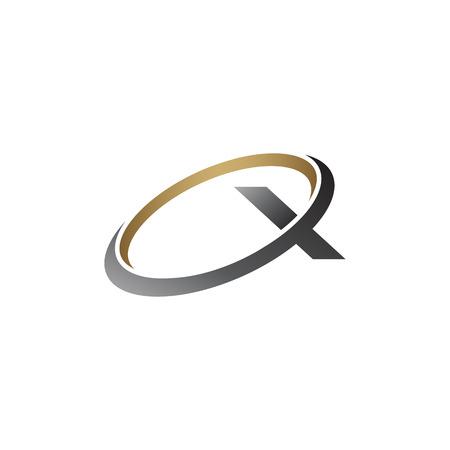 letter x logo. round silver gold logo design concept template
