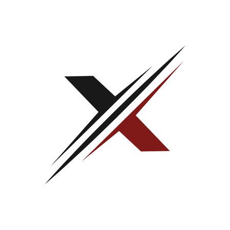 문자 x 로고. 슬라이스 로고 디자인 컨셉 템플릿 일러스트