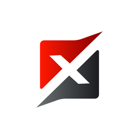 x の正方形のロゴのデザイン コンセプトのテンプレート文字