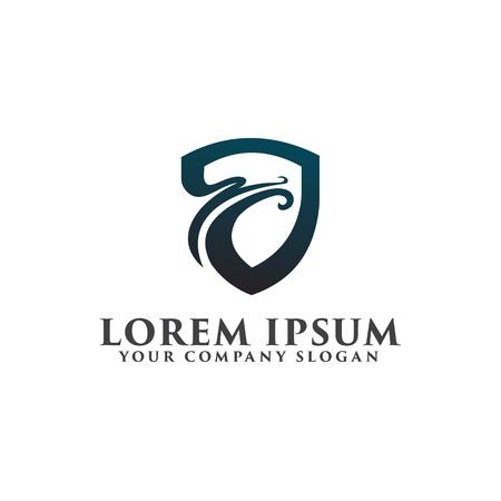 security dragon logo design concept template