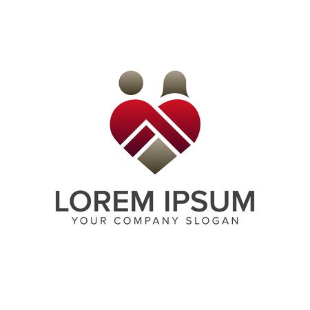 로맨틱 사람들 사랑 로고 디자인 컨셉 템플릿 일러스트