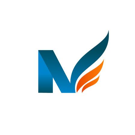literę n skrzydła logo koncepcja projektowania szablonu