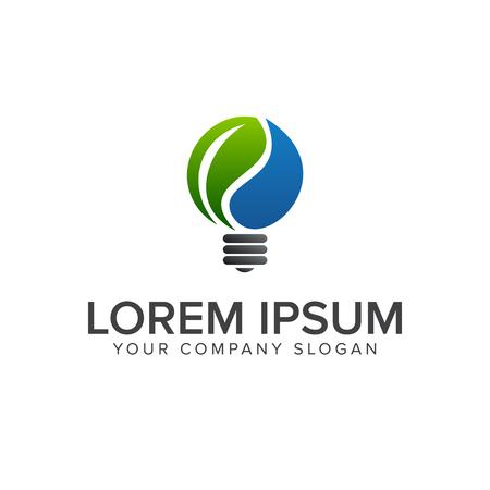 녹색 아이디어 전구 로고 디자인 컨셉 템플릿