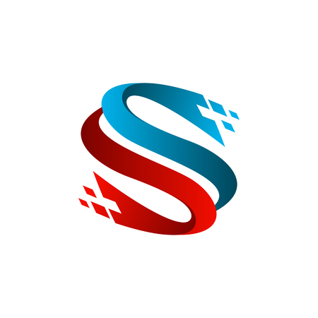 letter s technology logo design concept template