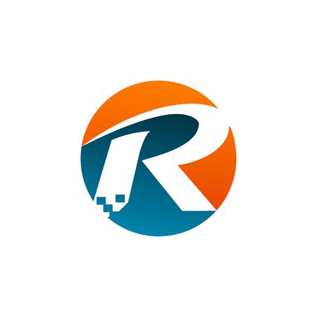letter R logo. Technology logo design concept template