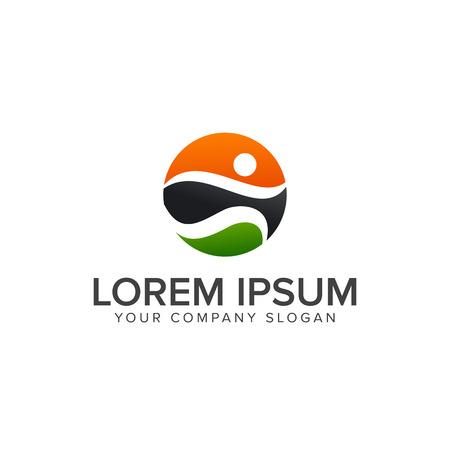 sport people Logos, run activity people logo design concept template