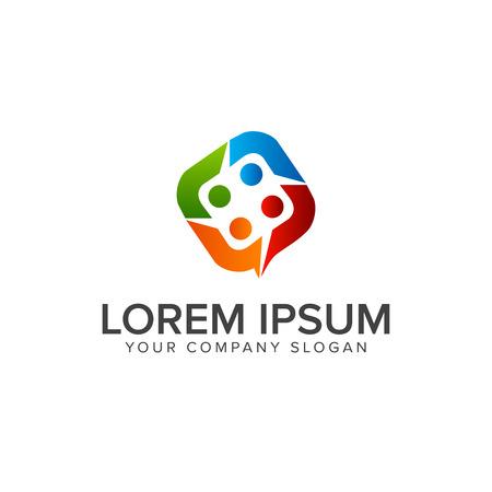 사람들 비즈니스 및 컨설팅 로고. 팀웍 통신 그룹 로고 디자인 개념 템플릿