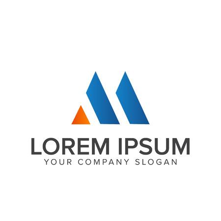 手紙 m ロゴ デザイン コンセプト テンプレート