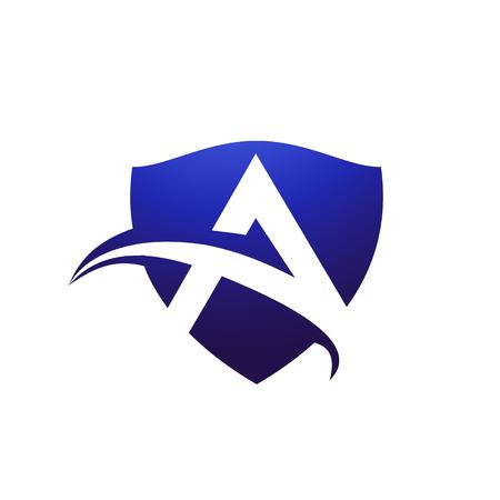 Letra A plantilla de concepto de diseño de logotipo de escudo Foto de archivo - 83305537