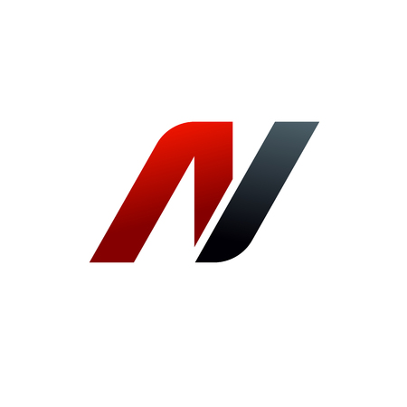 letter n logo. speed logo design concept template