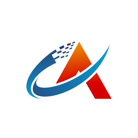 letter A logo technology design concept template 向量圖像
