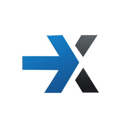 letter x logo with arrow logo design concept template