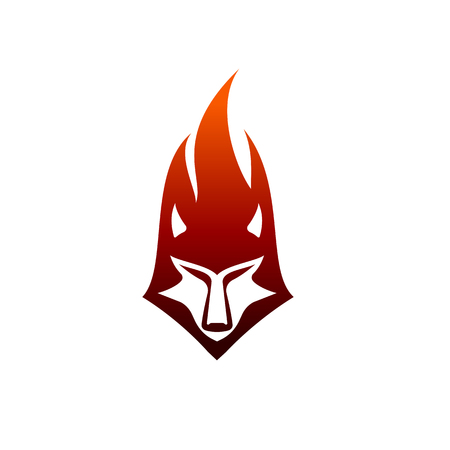 wolf flame logo design concept template