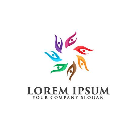 people leaf logo. partner logo design concept template