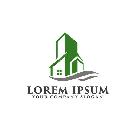 Architecturale, bouw, onroerend goed en hypotheek logo ontwerpsjabloon concept