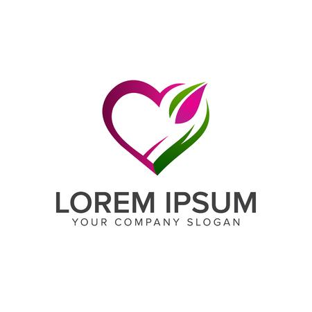 Liebe grüne Logo Design Konzept Vorlage Standard-Bild - 83310806