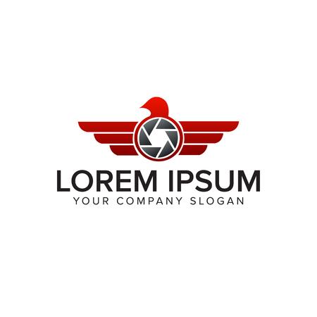 photo wing logo. drone logo design concept template
