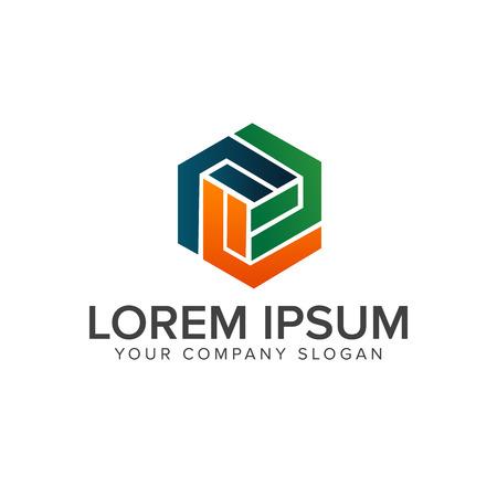 letter F hexagon logo design concept template