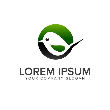 green bird logo design concept template