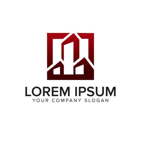 Architectuur, Bouw, Vastgoed en Hypotheek logo ontwerp concept sjabloon