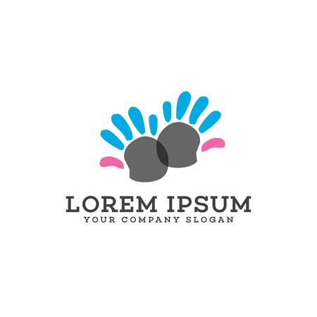Kinderbetreuungslogo Hand Logo Design Konzept Vorlage Standard-Bild - 83310979
