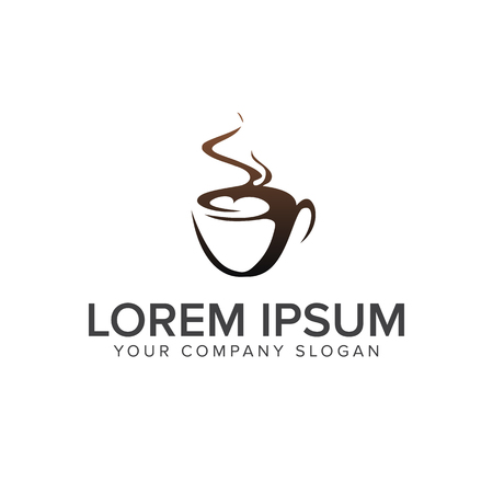 Drink Coffee logo design concept template Illustration
