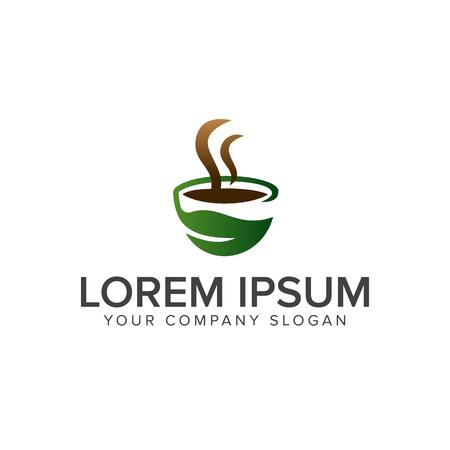 녹색 커피 로고 디자인 컨셉 템플릿