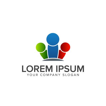 人々 は、ビジネス ・ コンサルティングのロゴ。チームワーク通信グループのロゴ デザイン コンセプト テンプレート  イラスト・ベクター素材