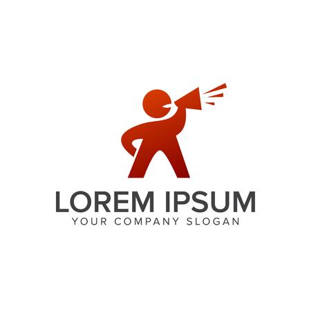 people with speaker logo design concept template Illustration