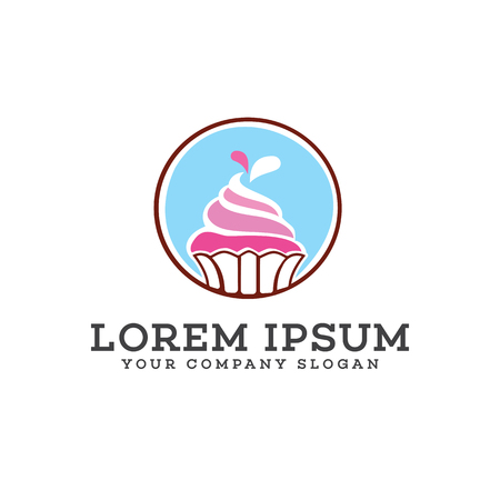 Ice cream cake logo design concept template Illustration