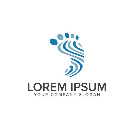 足のフット プリント人ロゴ デザイン コンセプト テンプレート  イラスト・ベクター素材