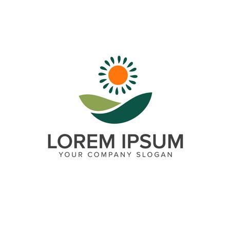 Weide en zon logo. Landscaping logo ontwerpsjabloon concept
