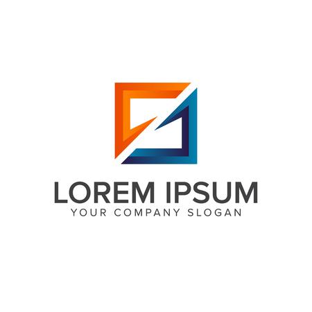 Letter s logo, square shape design concept template