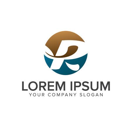 Letter R leaf logo. circle design concept template