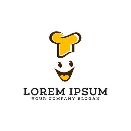 Chef smile logo design concept template