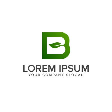 Letter b leaf logo design concept template Ilustração