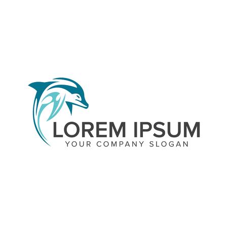 Dolfijn logo ontwerpsjabloon concept Stock Illustratie