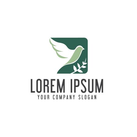 Bird leaf logo. Square shape design concept template