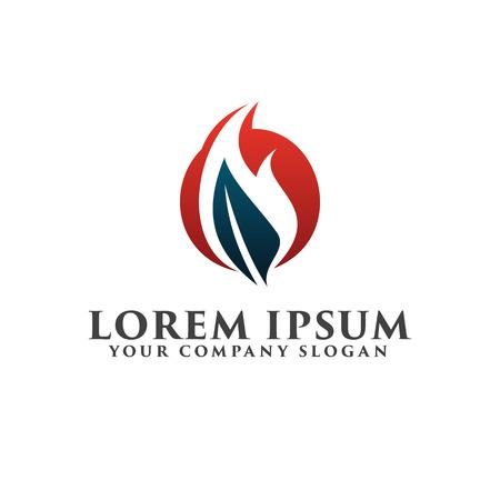 Leaf fire logo design concept template