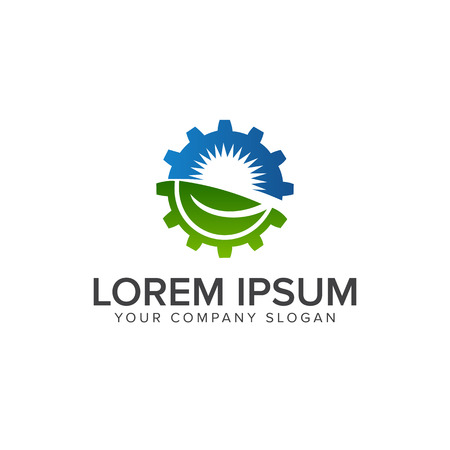 葉太陽歯車ロゴ。エネルギー、産業ロゴ デザイン コンセプト テンプレート  イラスト・ベクター素材