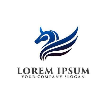 horse wing logo. luxury design concept template Stock Illustratie