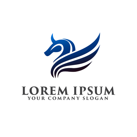 horse wing logo. luxury design concept template Illustration