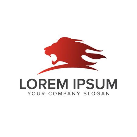 Lion head roar logo design concept template  イラスト・ベクター素材