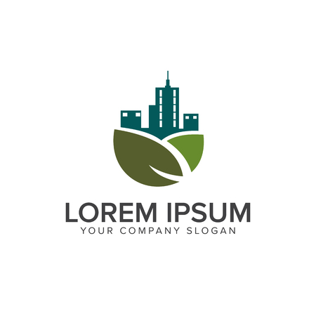 Green building logo. Real estate logo design concept template Illustration